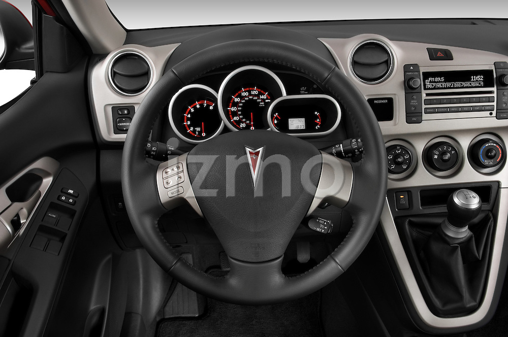 Steering wheel view of a 2009 Pontiac Vibe GT