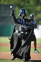 Darth Vader throws out the first pitch on Star Wars Night prior to the Midwest League game between the Quad Cities River Bandits  and the Burlington Bees at Community Field on June 10, 2016 in Burlington, Iowa.  The Bees won 3-1.  (Dennis Hubbard/Four Seam Images)