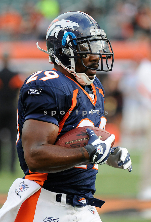 BRUCE HALL, of the Denver Broncos  in action during the Broncos game against the Cincinnati Bengals at Paul Brown Stadium in Cincinnati, OH.  on August 20, 2010.  The Bengals beat the Broncos 22-9 in the second week of preseason games...