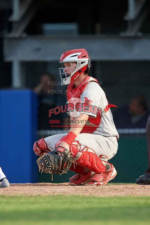 Johnson City Cardinals catcher Zach Jackson (15) during the first game of a doubleheader against the Princeton Rays on August 17, 2018 at Hunnicutt Field in Princeton, Virginia.  Johnson City defeated Princeton 6-4.  (Mike Janes/Four Seam Images)