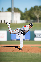 Glendale Desert Dogs relief pitcher Jay Flaa (48), of the Baltimore Orioles organization, follows through on his delivery during an Arizona Fall League game against the Surprise Saguaros at Surprise Stadium on November 13, 2018 in Surprise, Arizona. Surprise defeated Glendale 9-2. (Zachary Lucy/Four Seam Images)