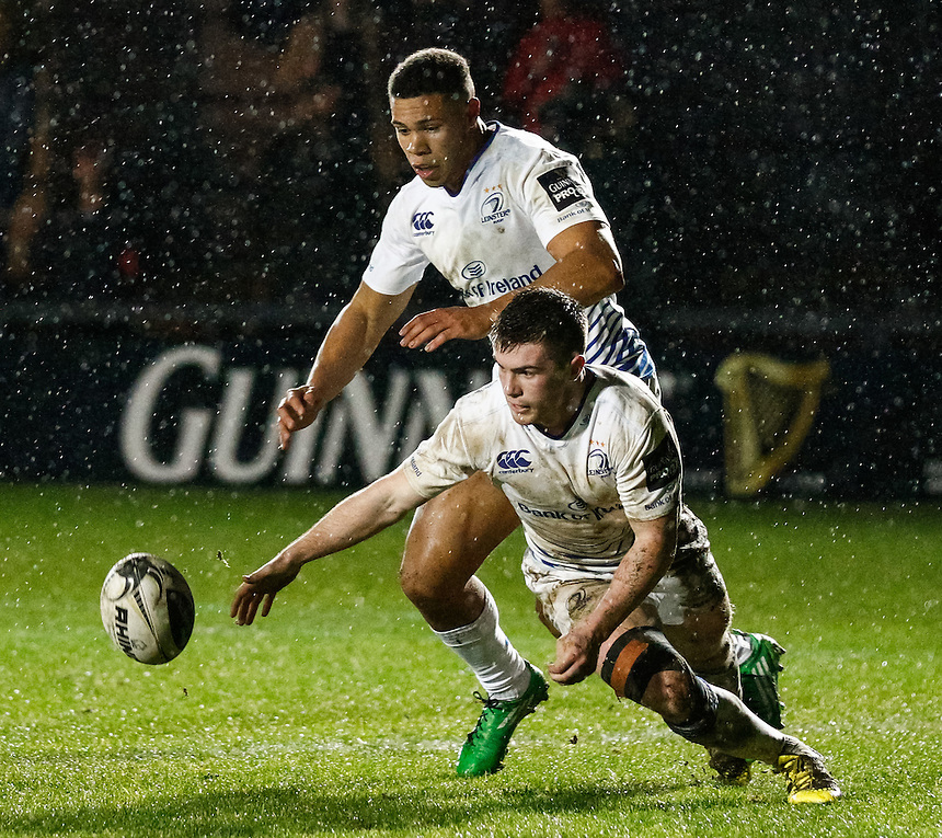 Leinster's Luke McGrath and Adam Byrne prevent a try<br /> <br /> Photographer Simon KIng/CameraSport<br /> <br /> Rugby Union - Guinness PRO12 Round 13 - Newport Gwent Dragons v Leinster - Friday 29th January 2016 - Rodney Parade - Newport<br /> <br /> &copy; CameraSport - 43 Linden Ave. Countesthorpe. Leicester. England. LE8 5PG - Tel: +44 (0) 116 277 4147 - admin@camerasport.com - www.camerasport.com