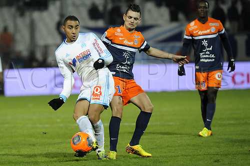 29.11.2013. Marseilles, France. French League 1 football. Marseilles versus Montpellier.  Payet (OM) - Cabella (MHSC)