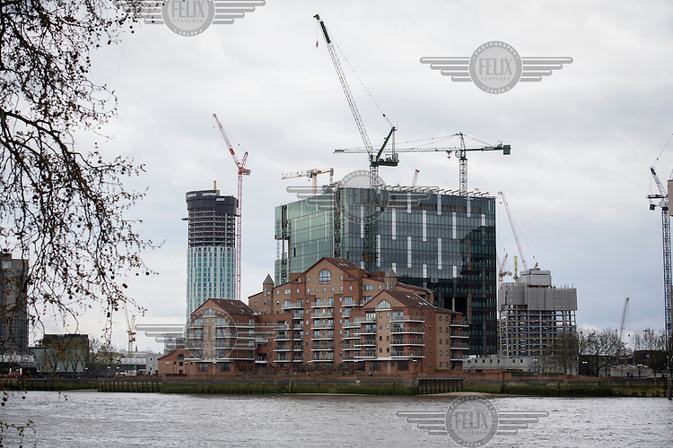 The River Thames beside the Nine Elms development site.