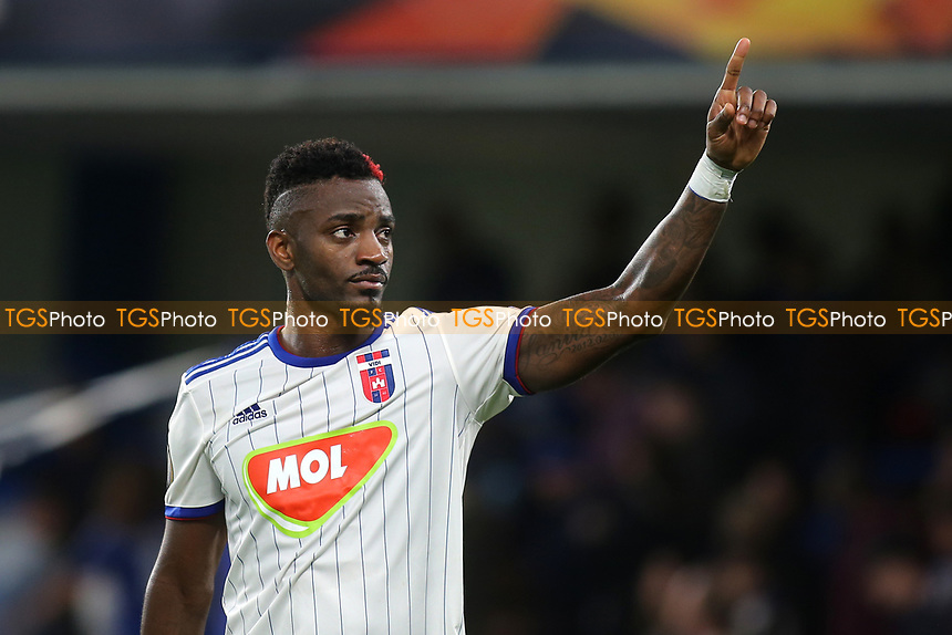 Mol Vidi's Stopira acknowledges the away fans at the final whistle during Chelsea vs MOL Vidi, UEFA Europa League Football at Stamford Bridge on 4th October 2018