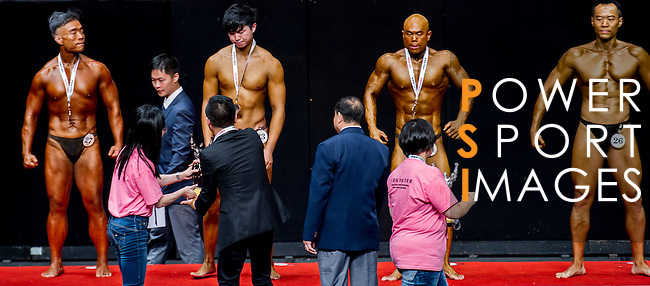 Winners of the Junior Men's Bodybuilding over 70kg category during the 2016 Hong Kong Bodybuilding Championships on 12 June 2016 at Queen Elizabeth Stadium, Hong Kong, China. Photo by Lucas Schifres / Power Sport Images