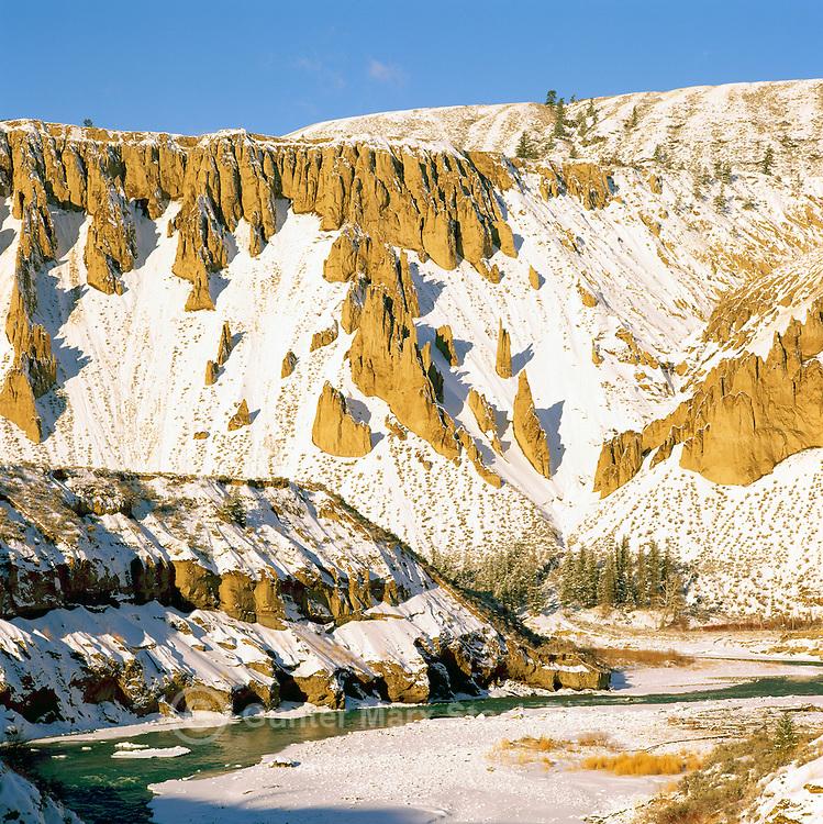 Cariboo Chilcotin Coast Region, BC, British Columbia, Canada - Chilcotin River flowing through Farwell Canyon, Winter