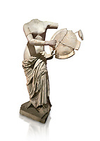 Roman statue of Aphrodite holding a shield. Marble. Perge. 2nd century AD . Antalya Archaeology Museum; Turkey. Against a white background.