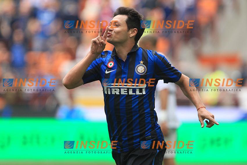 """Esultanza di Mauro Zarate.Goal Celebration.Milano 29/04/2012 Stadio """"S.Siro"""".Football / Calcio Serie A 2011/12 Inter vs Cesena.Foto Insidefoto Paolo Nucci."""