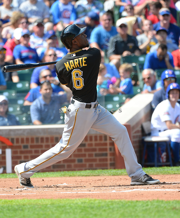 Pittsburgh Pirates Starling Marte (6) during a game against the Chicago Cubs on September 5, 2014, at Wrigley Field in Chicago, IL. The Pirates beat the Cubs 5-3.