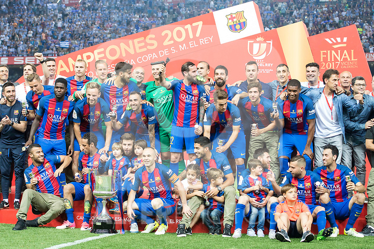FC Barcelona's celebrates the championship during Copa del Rey (King's Cup) Final between Deportivo Alaves and FC Barcelona at Vicente Calderon Stadium in Madrid, May 27, 2017. Spain.<br /> (ALTERPHOTOS/BorjaB.Hojas)