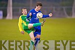 Kerry's Gary Keane and Limerick F.C.'s Gearbhan Broughall...