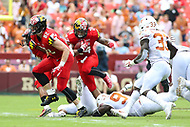 Landover, MD - September 1, 2018: Maryland Terrapins running back Ty Johnson (24) runs the ball during the game between Texas and Maryland at  FedEx Field in Landover, MD.  (Photo by Elliott Brown/Media Images International)