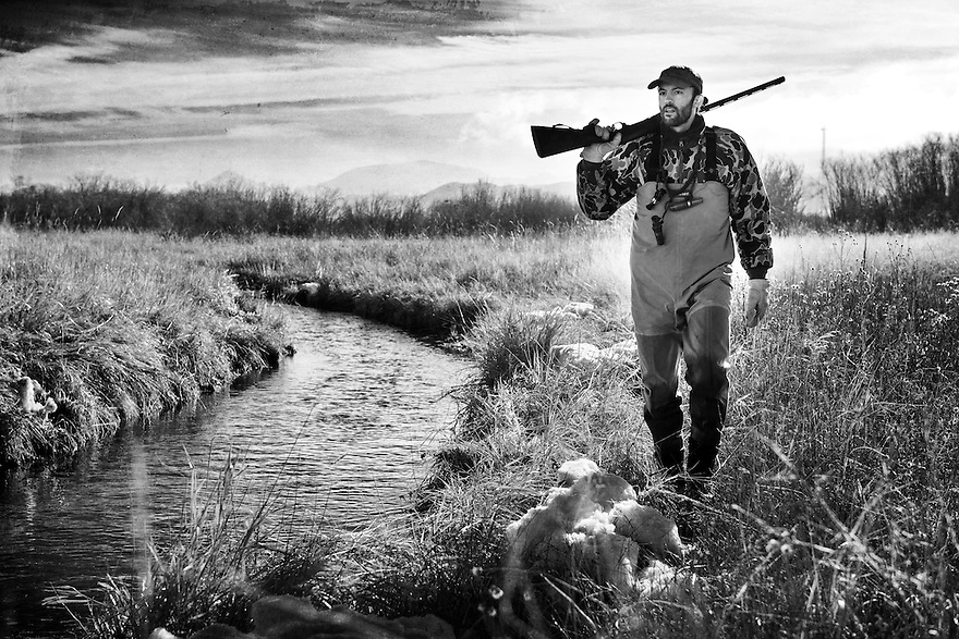 Nick Romano hunts waterfowl on the Red Rock River south of Dillon, Montana.
