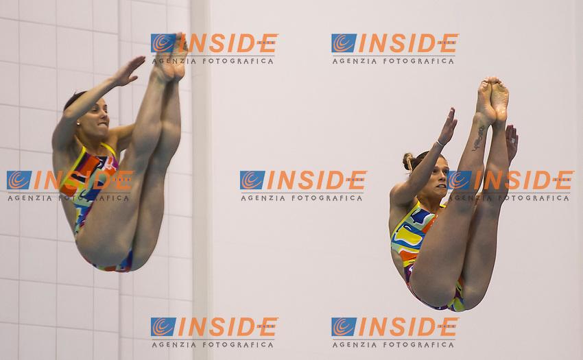 Tania Cagnotto and Francesca Dallape&sbquo;&Auml;&ocirc; ITA gold medal<br /> <br /> Synchronised 3m springboard women final<br /> <br /> Day 05 13/06/2015  <br /> <br /> 2015 Arena European Diving Championships<br /> <br /> Neptun Schwimmhalle<br /> <br /> Rostock Germany 09-14 June 2015 <br /> <br /> Photo Giorgio Perottino/Deepbluemedia/Insidefoto