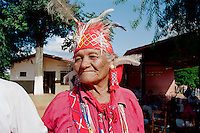 Portrait of Maka Indian elder. Maka Indigenous communities impacted by timber industry in the north. Asuncion area, Paraguay.