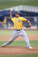 Angel Duno (31) of the AZL Athletics pitches during a game against the AZL Brewers at Maryvale Baseball Park on June 30, 2015 in Phoenix, Arizona. Brewers defeated Athletics, 4-2. (Larry Goren/Four Seam Images)