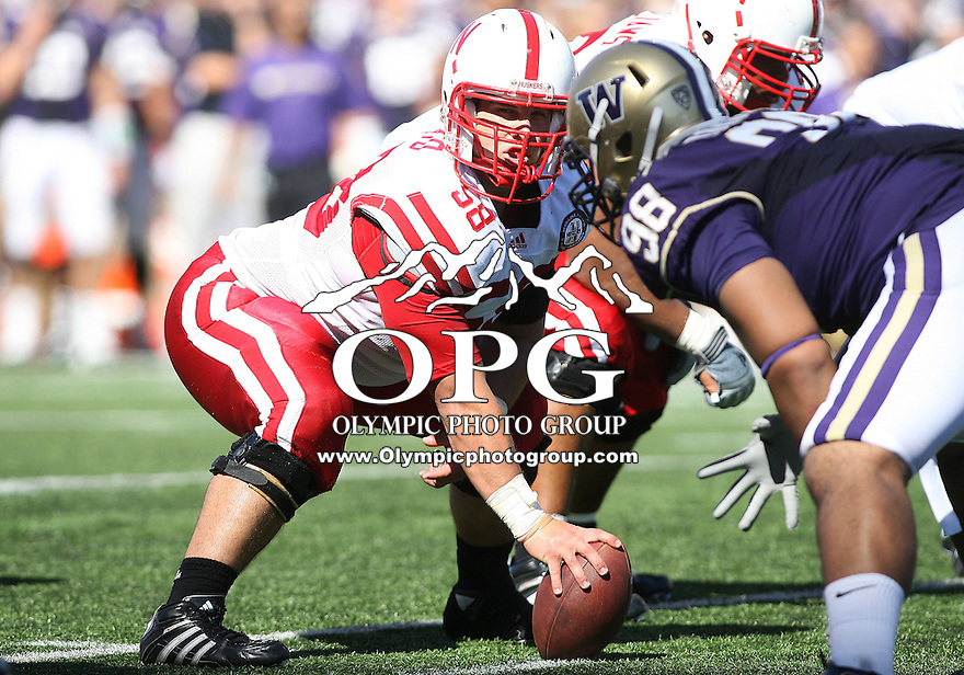 Sept 18, 20010:  Nebraska center #58 Mike Caputo gets set to hike the ball off against Washington. Nebraska defeated Washington  56-21 at Husky Stadium in Seattle, Washington...