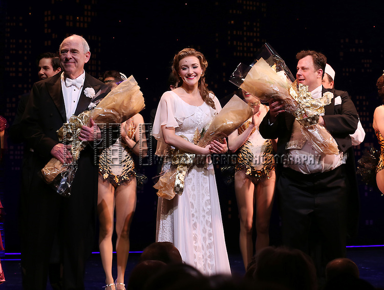 "Lenny Wolpe, Betsy Wolfe and Brooks Ashmanskas during the Broadway Opening Night Performance Curtain Call for ''Bullets Over Broadway'""at the St. James Theatre on April 10, 2014 in New York City."