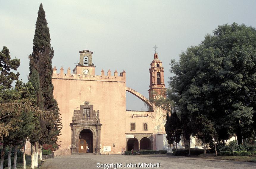 The 16th-century Parroquia de San Bernardino in Xochimilco, Mexico city. Xochimilco, historic center was declared a UNESCO World Heritage Site in 1987.