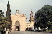 The 16th-century Parroquia de San Bernardino in Xochimilco, Mexico city. Xochimilco, historic center was declared a UNESCO World Heritage Site in 1987.