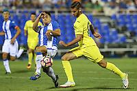 Villarreal's Mario Gonzalez and Leganes's Unai Bustinza during the XXXVII trophy of Legane's City between CD Leganes and Villarreal CF at Butarque Stadium. August 13, 2016. (ALTERPHOTOS/Rodrigo Jimenez) /NORTEPHOTO