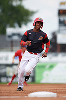 Batavia Muckdogs shortstop Marcos Rivera (8) running the bases during the first game of a doubleheader against the Williamsport Crosscutters on August 20, 2017 at Dwyer Stadium in Batavia, New York.  Batavia defeated Williamsport 6-5.  (Mike Janes/Four Seam Images)