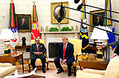United States President Donald J. Trump, right, speaks to the media while meeting with His Royal Highness Prince Salman bin Hamad Al-Khalifa, Crown Prince, Deputy Supreme Commander, and First Deputy Prime Minister of the Kingdom of Bahrain, left, in the Oval Office of the White House in Washington, DC on Monday, September 16, 2019.<br /> Credit: Chris Kleponis / Pool via CNP