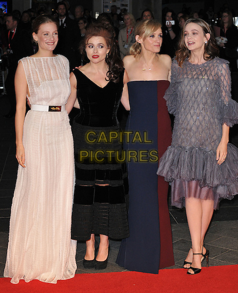 Romola Garai, Helena Bonham-Carter, Anne-Marie Duff &amp; Carey Mulligan attend the 59th BFI London Film Festival 2015 &quot;Suffragette&quot; opening gala, Odeon Leicester Square cinema, Leicester Square, London, England, UK, on Wednesday 07 October 2015. <br /> CAP/CAN<br /> &copy;Can Nguyen/Capital Pictures