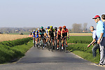 The main group of favourites led by Chris Juul Jensen (IRL/DEN) Mitchelton-Scott on Driesstraat during the 2019 E3 Harelbeke Binck Bank Classic 2019 running 203.9km from Harelbeke to Harelbeke, Belgium. 29th March 2019.<br /> Picture: Eoin Clarke | Cyclefile<br /> <br /> All photos usage must carry mandatory copyright credit (© Cyclefile | Eoin Clarke)