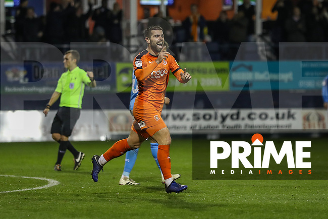 GOAL - Elliot Lee of Luton Town celebrates after he scores his second goal to make the score 0-3 during the Sky Bet League 1 match between Luton Town and Bradford City at Kenilworth Road, Luton, England on 27 November 2018. Photo by David Horn.