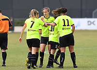 20190907 – ZWEVEZELE , BELGIUM : Zwevezele's playes pictured celebrating the second goal of Eva Deparck and the 2-0 lead during a women soccer game between Dames KSK Voorwaarts Zwevezele  and  Hoger Op Wolvertem Merchtem Ladies  on the second round matchday of the Belgian Women's Cup – Beker van Belgie -  season 2019-2020 , saturday 7th September  2019  in Zwevezele  , Belgium  .  PHOTO SPORTPIX.BE | DAVID CATRY