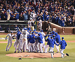 Munenori Kawasaki (Cubs),<br /> OCTOBER 22, 2016 - MLB :<br /> Chicago Cubs team group celebrate after winning the Game 6 of the National League baseball championship series against the Los Angeles Dodgers, Saturday, Oct. 22, 2016, in Chicago. The Cubs won 5-0 to win the series and advance to the World Series against the Cleveland Indians. (Photo by AFLO)