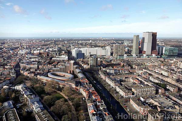Nederland - Den Haag-  2018. In het midden het Stadhuis. Op de achtergrond de Noordzee. Foto Berlinda van Dam / Hollandse Hoogte