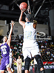 Southern University Jaguars forward Laneisha Stephens (12) in action during the SWAC Tournament Championship game between the Prairie View A&M Lady Panthers and the Southern University Jaguars at the Special Events Center in Garland, Texas. Prairie View defeats  Southern 48 to 44