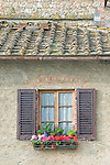 Europe, Italy, Tuscany, San Gimignano, House Window with Geraniums