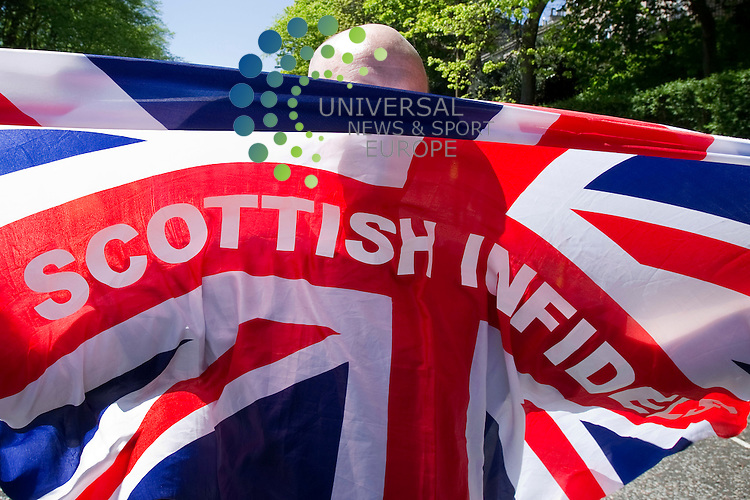 SDL Protesters gather in Regent Road for a short march to St Andrews House, Edinburgh, Scotland, 26th May, 2012. SDL protesters gather before the march..Picture:Scott Taylor Universal News And Sport (Europe) .All pictures must be credited to www.universalnewsandsport.com. (Office)0844 884 51 22.