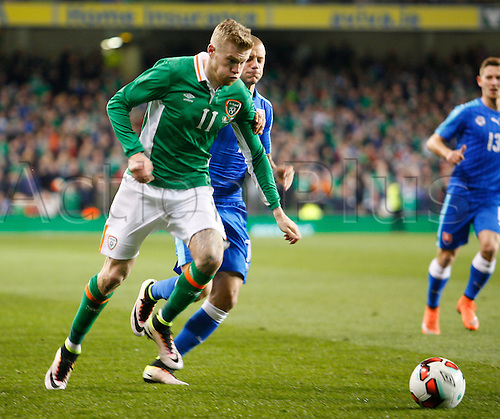 29.03.2016. Aviva Stadium, Dublin, Ireland.  International Football Friendly Ireland versus Slovakia. James McClean (Rep. of Ireland) and Vladimir Weiss (Slovakia) challenge for the ball.