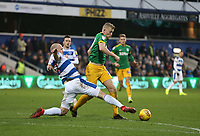 Queens Park Rangers' Toni Leistner challenges Preston North End's Jayden Stockley<br /> <br /> Photographer Rob Newell/CameraSport<br /> <br /> The EFL Sky Bet Championship - Queens Park Rangers v Preston North End - Saturday 19 January 2019 - Loftus Road - London<br /> <br /> World Copyright © 2019 CameraSport. All rights reserved. 43 Linden Ave. Countesthorpe. Leicester. England. LE8 5PG - Tel: +44 (0) 116 277 4147 - admin@camerasport.com - www.camerasport.com