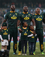 The South African players sing the National Anthem during the 2018 Castle Lager Incoming Series 2nd Test match between South Africa and England at the Toyota Stadium.Bloemfontein,South Africa. 16,06,2018 Photo by Steve Haag / stevehaagsports.com