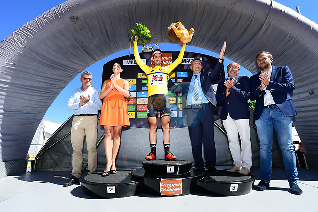 Race leader Thomas De Gendt (BEL) Lotto-Soudal retains the yellow jersey at the end of Stage 5 of the Criterium du Dauphine 2017, running 175.5km from La Tour-de Salvagny to Macon, France. 8th June 2017. <br /> Picture: ASO/A.Broadway | Cyclefile<br /> <br /> <br /> All photos usage must carry mandatory copyright credit (&copy; Cyclefile | ASO/A.Broadway)