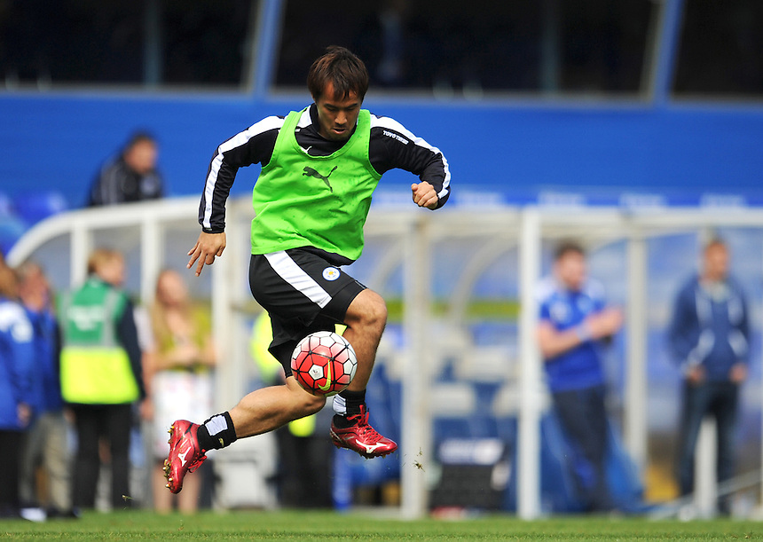 Leicester City&rsquo;s Shinji Okazaki warms up at half time<br /> <br /> Photographer Kevin Barnes/CameraSport<br /> <br /> Football - Pre-Season Friendly - Birmingham City v Leicester City - Saturday 1st August 2015 - St Andrew's - Birmingham<br /> <br /> &copy; CameraSport - 43 Linden Ave. Countesthorpe. Leicester. England. LE8 5PG - Tel: +44 (0) 116 277 4147 - admin@camerasport.com - www.camerasport.com