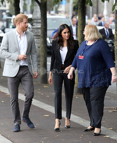 The Duke and Duchess of Sussex are pictured visiting the Famine Memorial in Dublin, Ireland.<br />