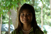 Happy and smiling pretty Khmer Girl at Phnom Kulen, Cambodia