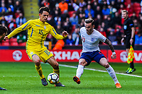 Norwich City's forward James Maddison (10) for England U21's  passes inside Dynamo Kyiv's midfielder Volodymyr Shepeliev (15) for Ukraine U21's during the International Euro U21 Qualification match between England U21 and Ukraine U21 at Bramall Lane, Sheffield, England on 27 March 2018. Photo by Stephen Buckley / PRiME Media Images.