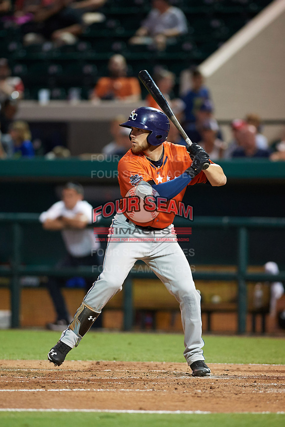 Charlotte Stone Crabs catcher Brett Sullivan (17) at bat during the Florida State League All-Star Game on June 17, 2017 at Joker Marchant Stadium in Lakeland, Florida.  FSL North All-Stars  defeated the FSL South All-Stars  5-2.  (Mike Janes/Four Seam Images)