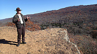 NWA Democrat-Gazette/FLIP PUTTHOFF <br /> Tim Scott, assistant superintendent, takes in the view Thursday Nov. 19, 2015 from the Yellow Rock Trail overlook at Devil's Den State Park. Hiking is the most popular activity at Devil's Den, which was named 2015 Region 1 Park of the Year.
