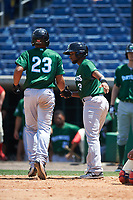 Daytona Tortugas Ty Washington (3) congratulates Avain Rachal (23) after a home run during a game against the Clearwater Threshers on April 20, 2016 at Bright House Field in Clearwater, Florida.  Clearwater defeated Daytona 4-2.  (Mike Janes/Four Seam Images)