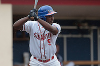 14 July 2010: Dimitri Beauperthuy of Team Saint Martin is seen at bat during day 2 of the Open de Rouen, an international tournament with Team France, Team Saint Martin, Team All Star Elite, at Stade Pierre Rolland, in Rouen, France.