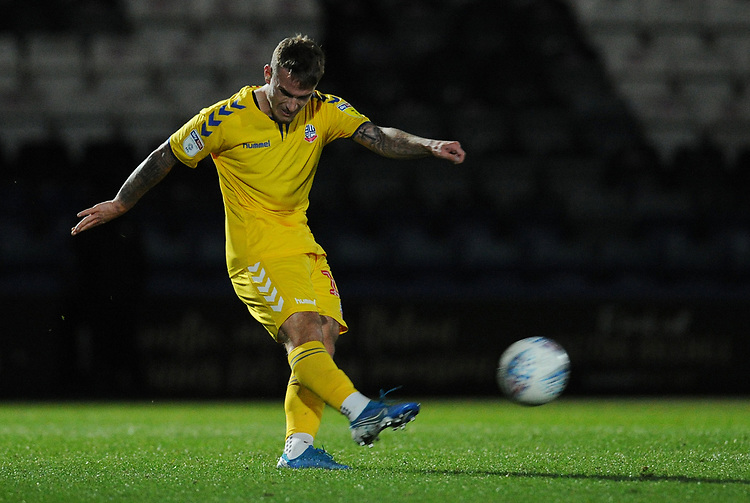 Bolton Wanderers' Jack Hobbs<br /> <br /> Photographer Kevin Barnes/CameraSport<br /> <br /> EFL Leasing.com Trophy - Northern Section - Group F - Rochdale v Bolton Wanderers - Tuesday 1st October 2019  - University of Bolton Stadium - Bolton<br />  <br /> World Copyright © 2018 CameraSport. All rights reserved. 43 Linden Ave. Countesthorpe. Leicester. England. LE8 5PG - Tel: +44 (0) 116 277 4147 - admin@camerasport.com - www.camerasport.com